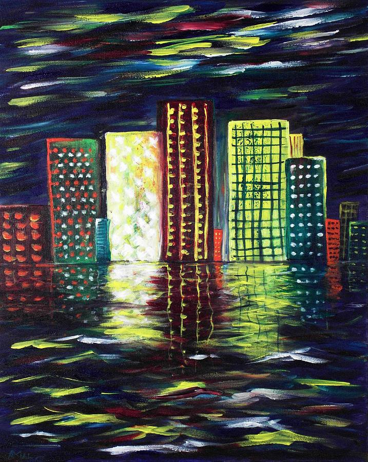 Skyline Painting - Dream City by Anastasiya Malakhova