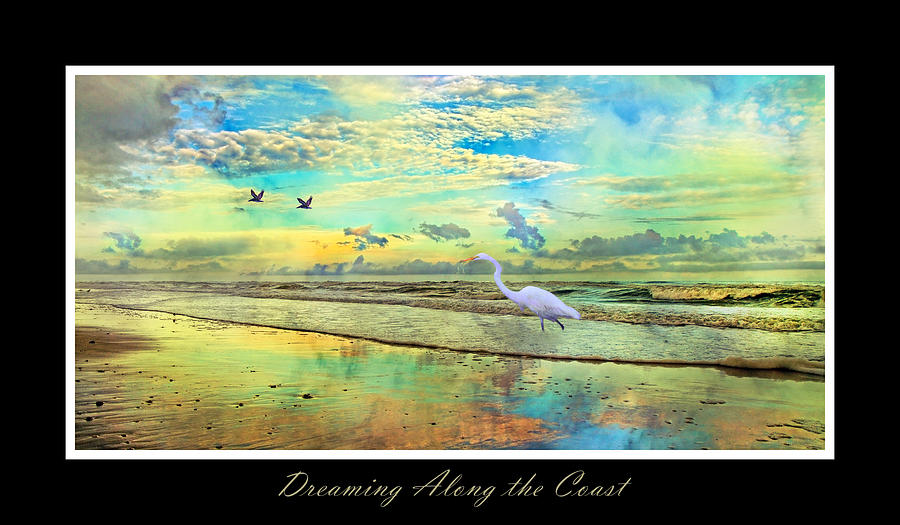 Dreaming Along The Coast -- Egret  Digital Art  - Dreaming Along The Coast -- Egret  Fine Art Print