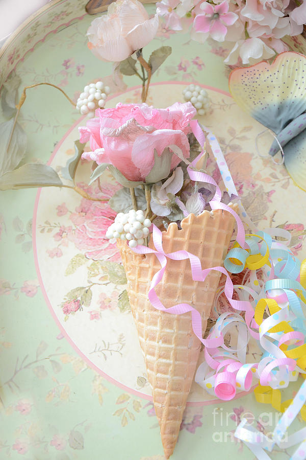 Dreamy Food Photography Photograph - Dreamy Cottage Shabby Chic Romantic Floral Art With Waffle Cone And Party Ribbons by Kathy Fornal