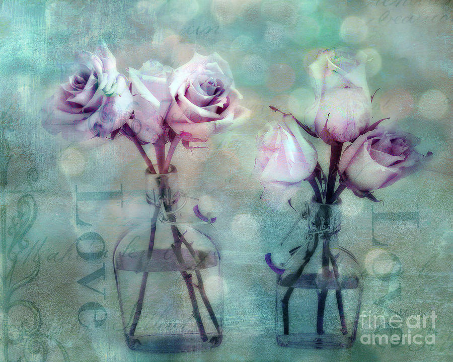 Dreamy Cottage Shabby Chic Roses Impressionistic Teal Aqua - Romantic Love Floral Photography Photograph