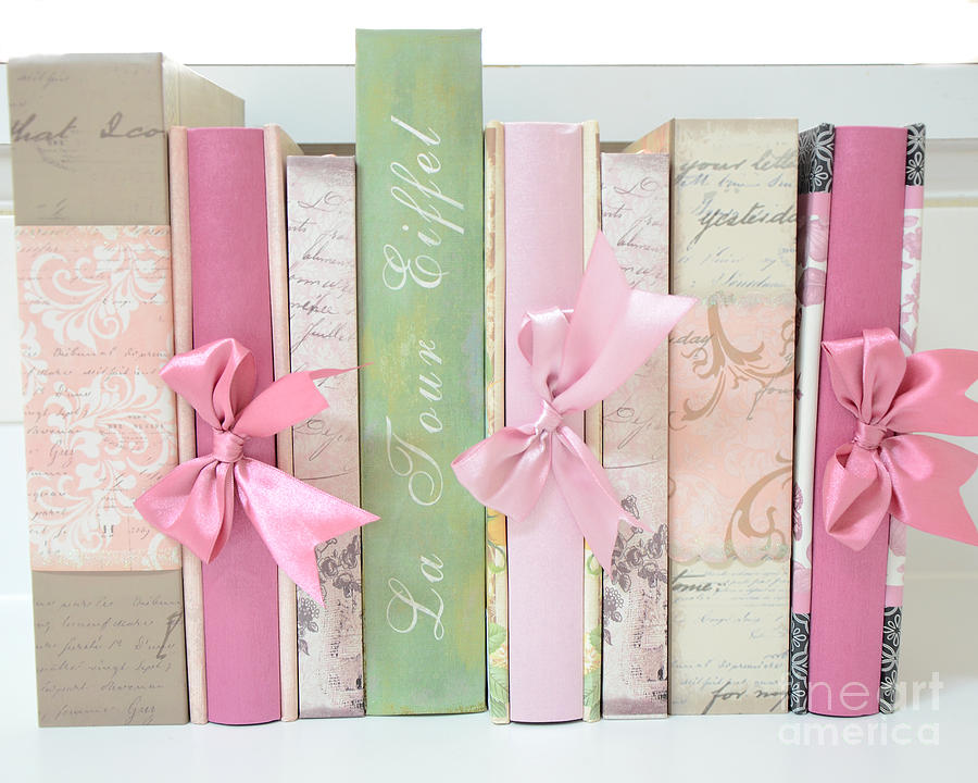 Dreamy Romantic Books Collection - Shabby Chic Cottage Chic Pastel Pink Books Photography  Photograph  - Dreamy Romantic Books Collection - Shabby Chic Cottage Chic Pastel Pink Books Photography  Fine Art Print