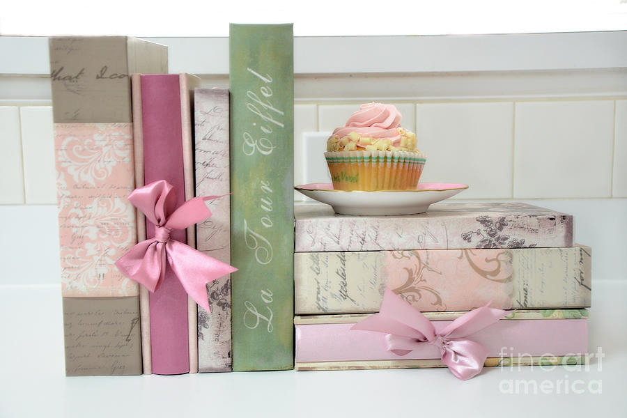 Cupcake Cottage Art Photograph - Dreamy Romantic Pastel Shabby Chic Cottage Chic Books With Pink Cupcake - Food Photography by Kathy Fornal