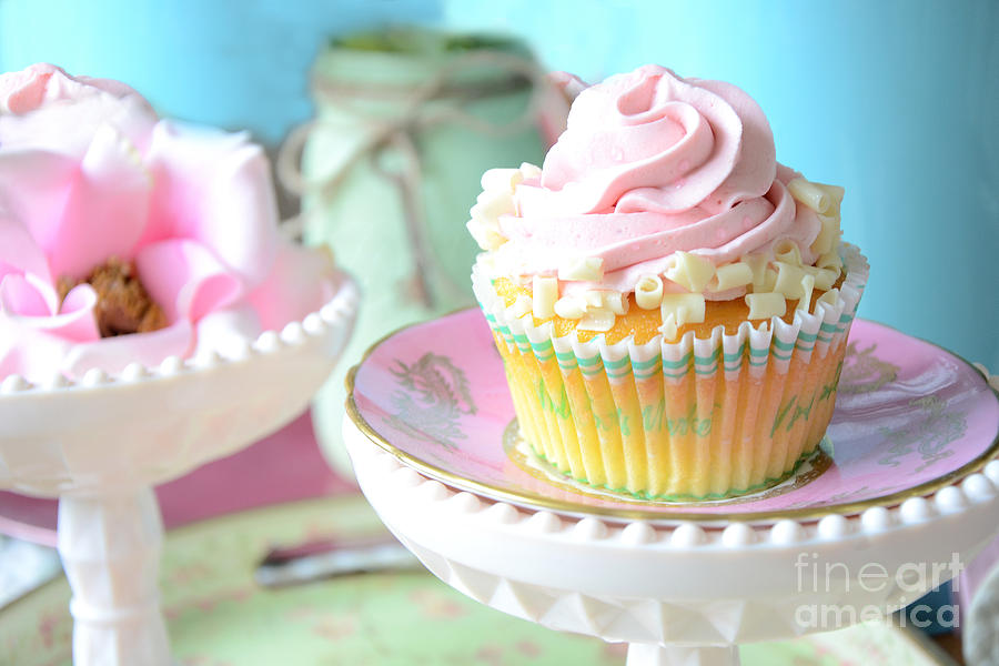 Dreamy Shabby Chic Cupcake Vintage Romantic Food And Floral Photography - Pink Teal Aqua Blue  Photograph