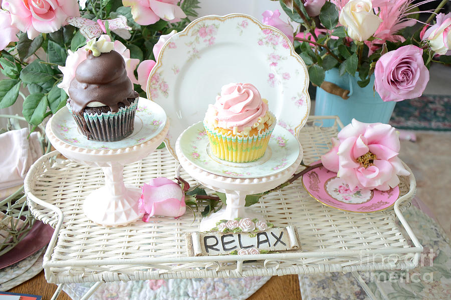 Dreamy Shabby Chic Pink And Chocolate Cupcakes Vintage Romantic Food And Floral Photography Photograph