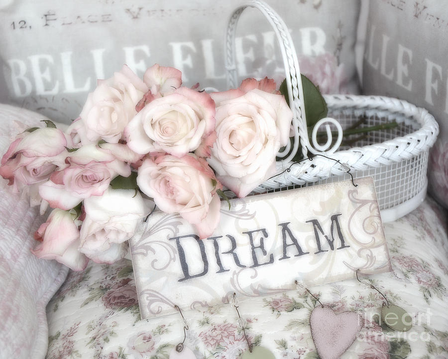 Shabby Chic Romantic Photography Photograph - Dreamy Shabby Chic Romantic Cottage Chic Roses In White Basket  by Kathy Fornal