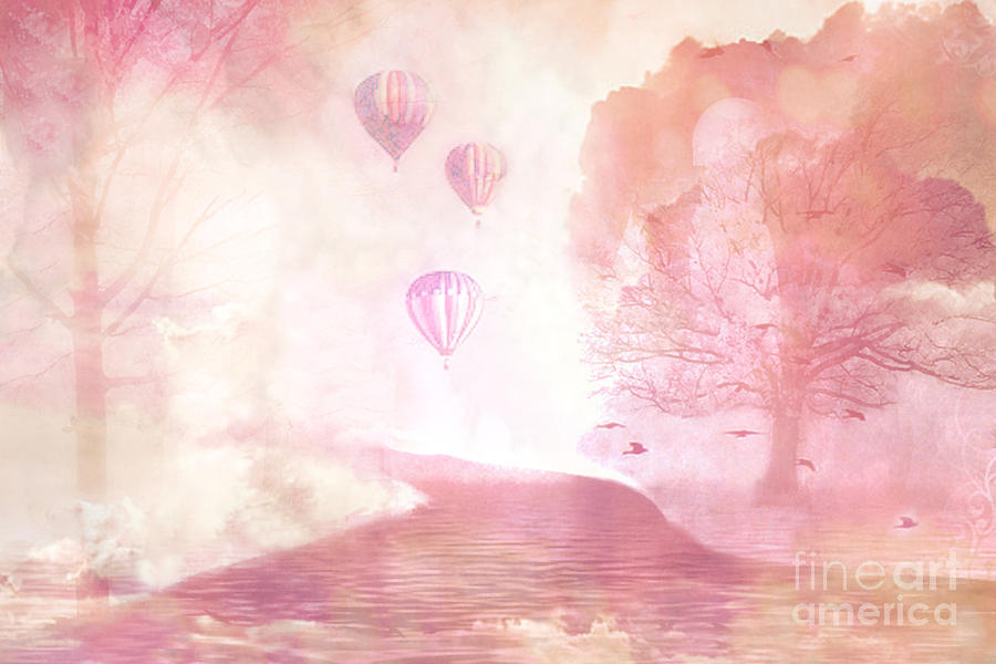 Dreamy Surreal Fantasy Fairytale Pastel Hot Air Balloons