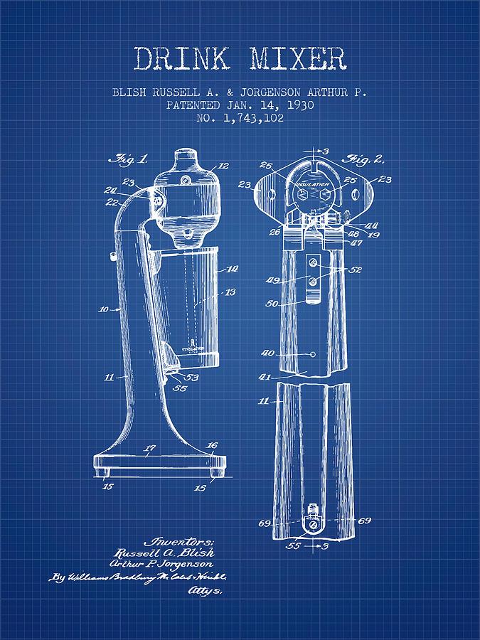 Drink Mixer Patent From 1930 - Blueprint Digital Art
