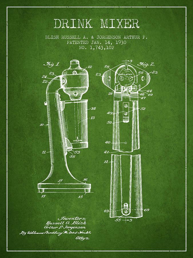 Drink Mixer Patent From 1930 - Green Digital Art