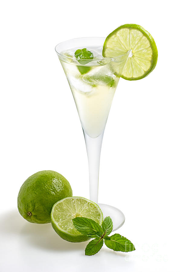 Drink With Lime And Mint In A Champagne Glass Photograph  - Drink With Lime And Mint In A Champagne Glass Fine Art Print