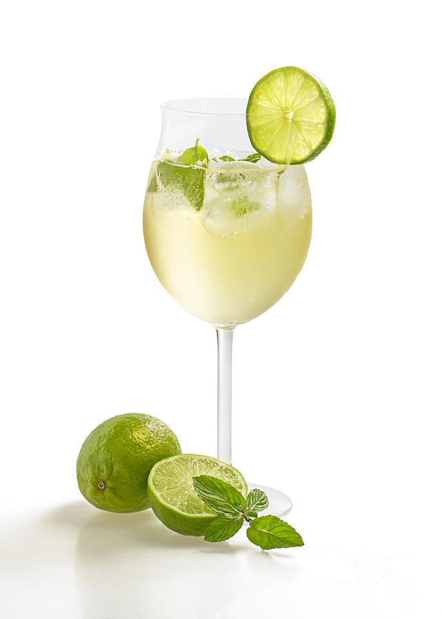 Drink With Lime And Mint In A Wine Glass Photograph  - Drink With Lime And Mint In A Wine Glass Fine Art Print