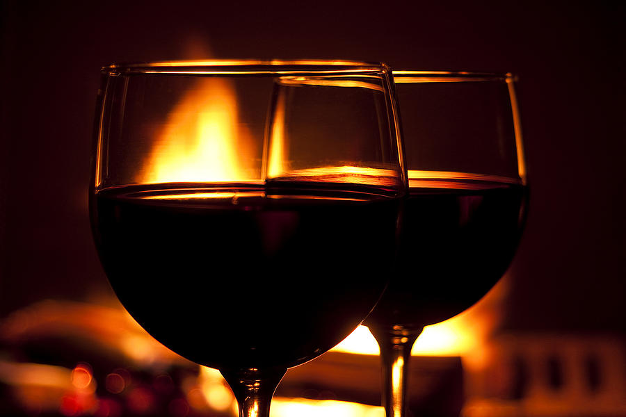 Wine Photograph - Drinks By The Fire by Andrew Soundarajan