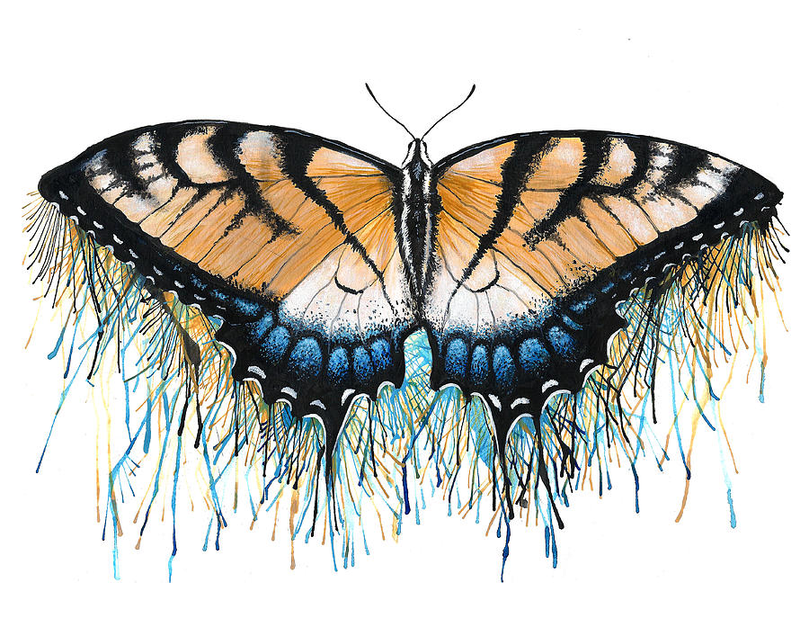 Butterfly Painting - Drip-dry Beauty by Danielle Trudeau