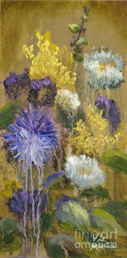 Drippy Bouquet With Gold Leaf By Vic Mastis Painting  - Drippy Bouquet With Gold Leaf By Vic Mastis Fine Art Print