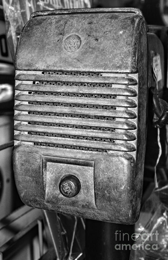 Drive In Movie Speaker In Black And White Photograph