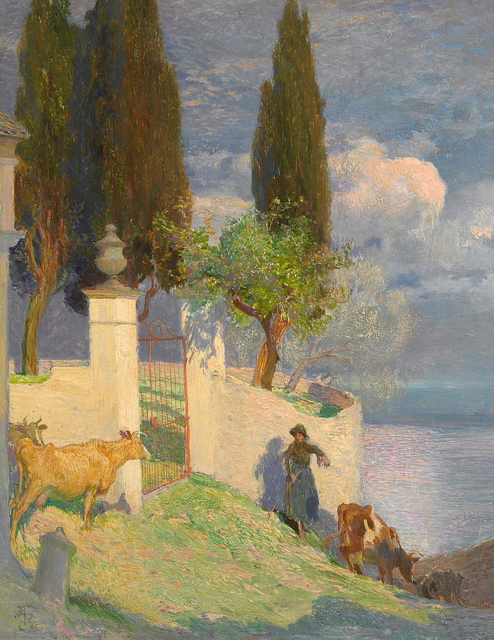 Driving Cattle Lake Como Painting  - Driving Cattle Lake Como Fine Art Print