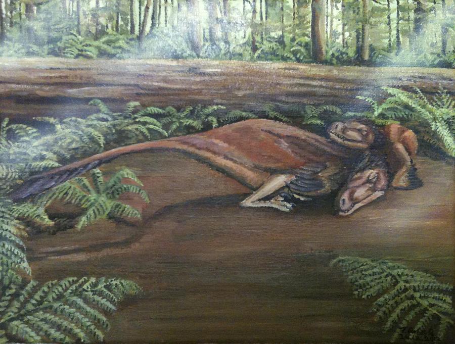 Dinosaurs Painting - Dromaeosaurus by Tristan Roberts