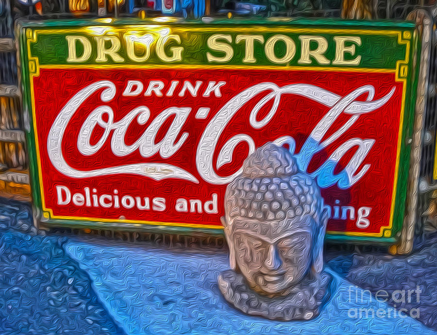 Drug Store Buddha Painting - Drug Store Buddha by Gregory Dyer