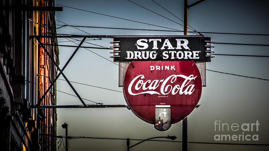 Sign Photograph - Drug Store by Perry Webster