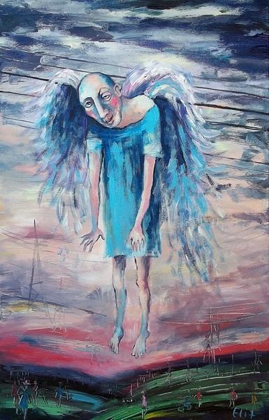 Humor Painting - Drunk Angel by Elisheva Nesis