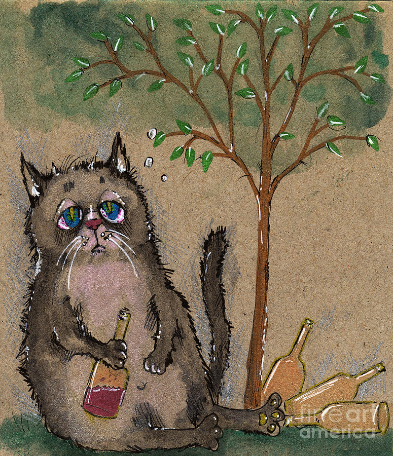 Drunken Cat Drawing  - Drunken Cat Fine Art Print