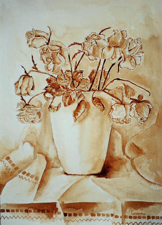 Dry roses coffee painting painting by mariana lazarciuc for Painting with coffee