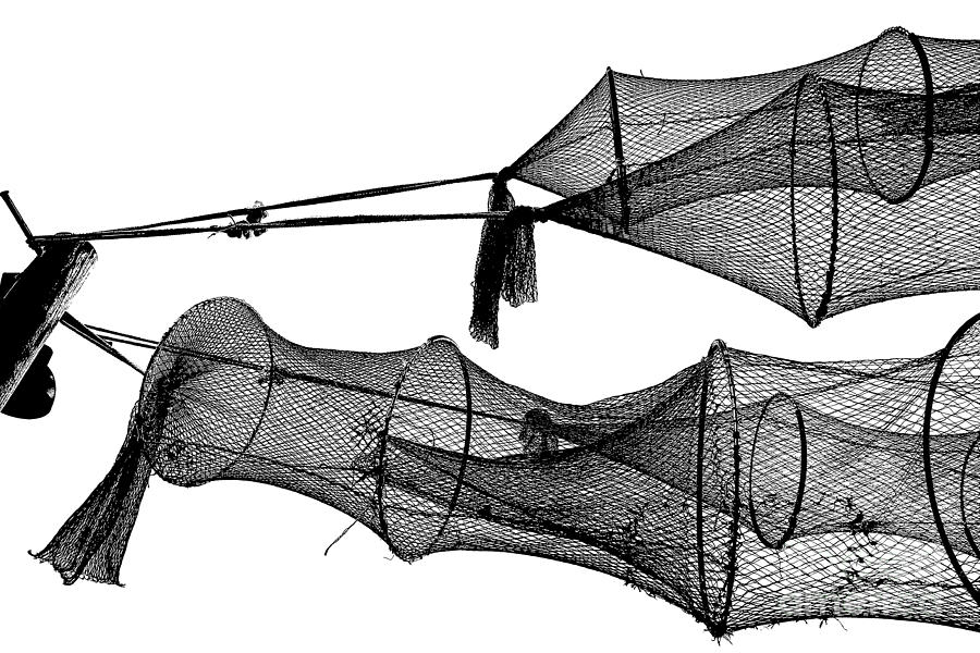 Drying Fishing Trap Nets On Poles Drawing