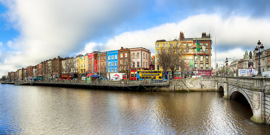 Dublin River Liffey Panorama Photograph