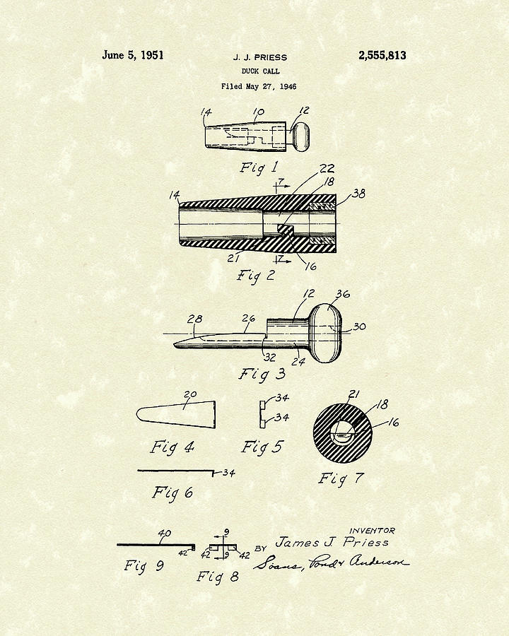 Duck Call 1951 Patent Art Drawing