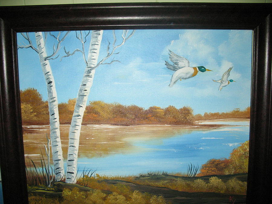 Landscape Ducks Painting - Ducks Flight by Kathy Livermore