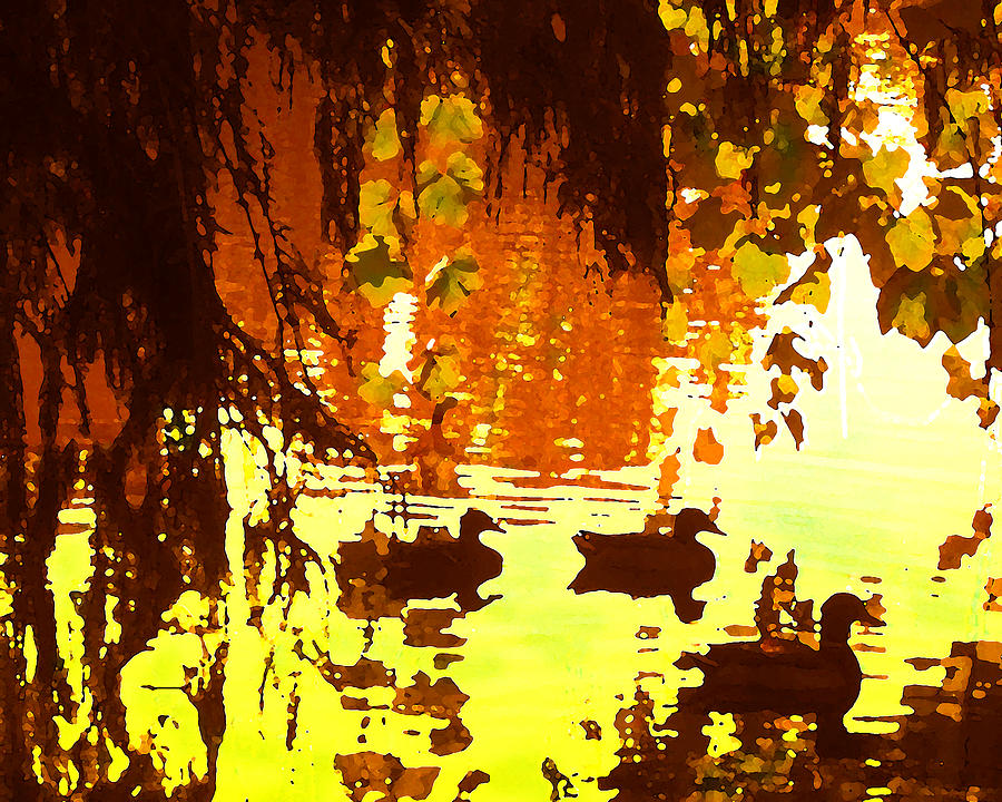 Ducks On Lake Red Light Painting  - Ducks On Lake Red Light Fine Art Print
