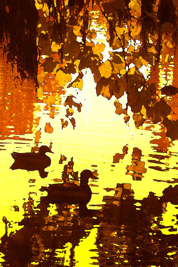 Ducks On Red Lake B Painting