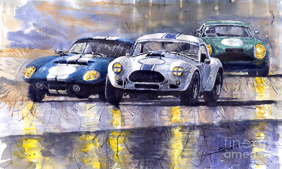 Duel Ac Cobra And Shelby Daytona Coupe 1965 Painting