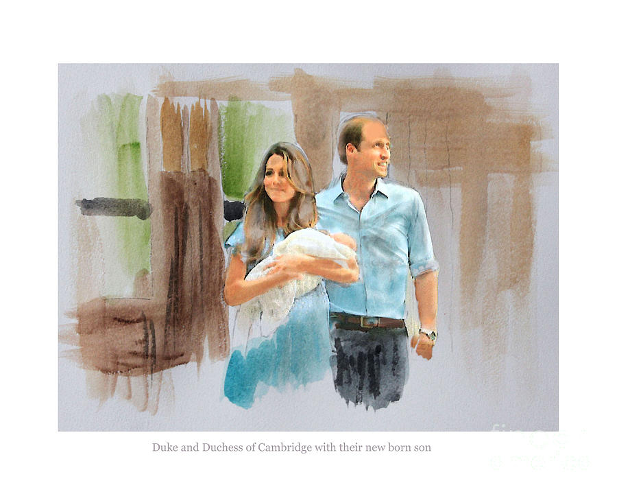 Duke And Duchess Of Cambridge With Their New Son Mixed Media