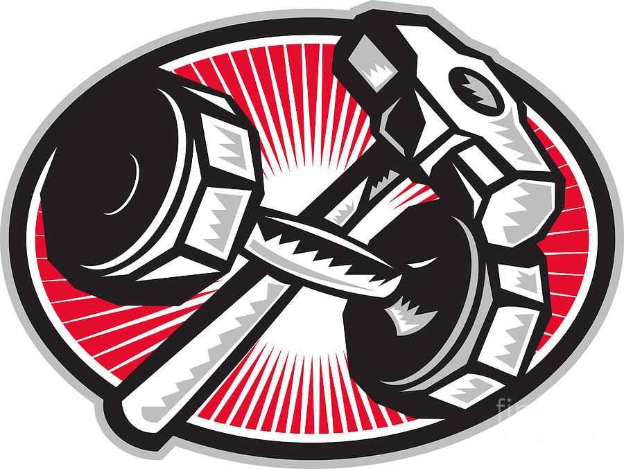 Dumbbell And Sledgehammer Retro Digital Art