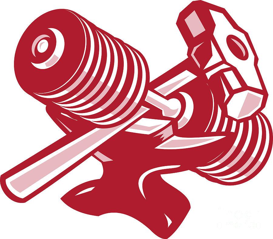 Dumbbell Anvil And Sledgehammer Retro Digital Art