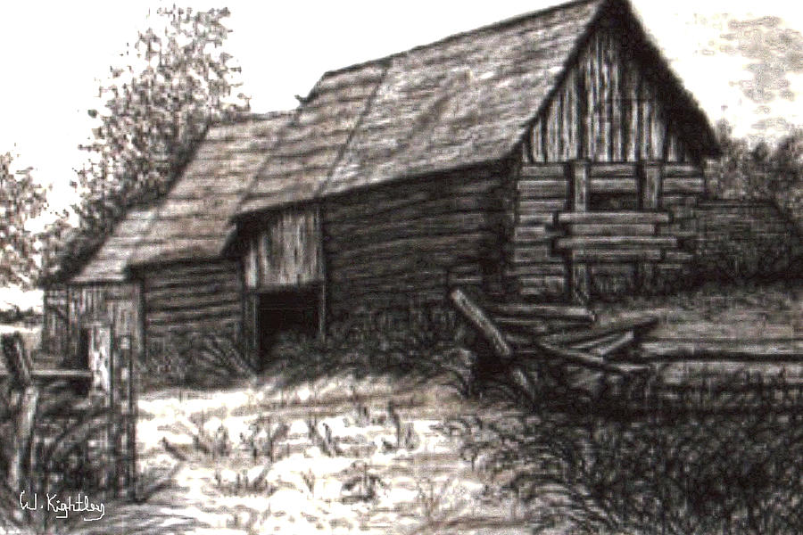 Canadian Artwork Drawing - Dunchurch Farm by Wanda Kightley