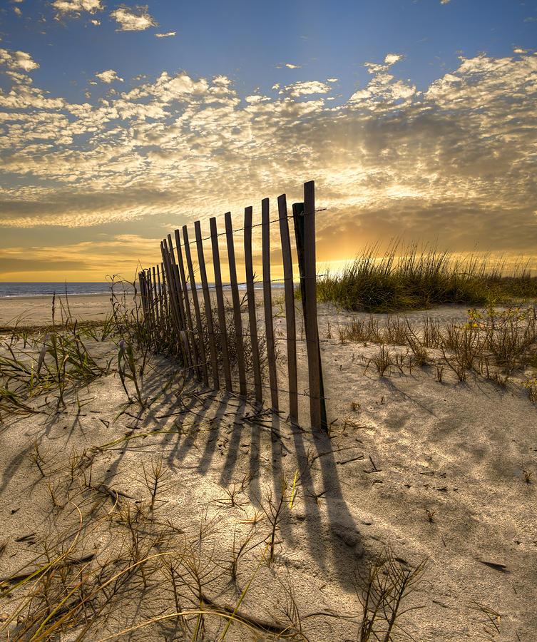 Dune Fence At Sunrise Photograph