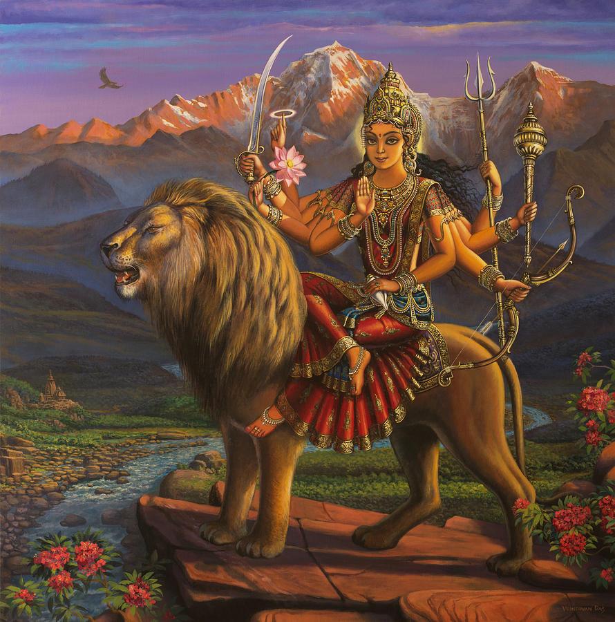 Durga Painting - Durga Ma by Vrindavan Das