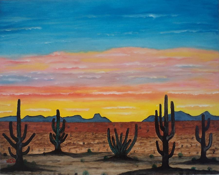 Dusk At Sonoran Desert Painting  - Dusk At Sonoran Desert Fine Art Print