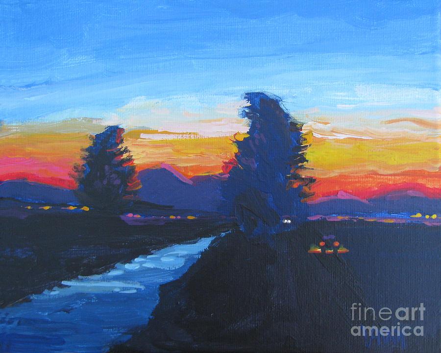 Day Evening Dusk La Luna Moment Series Painting - Dusk Moment by Vanessa Hadady BFA MA