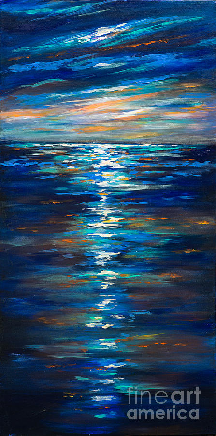 dusk on the ocean painting by linda olsen. Black Bedroom Furniture Sets. Home Design Ideas