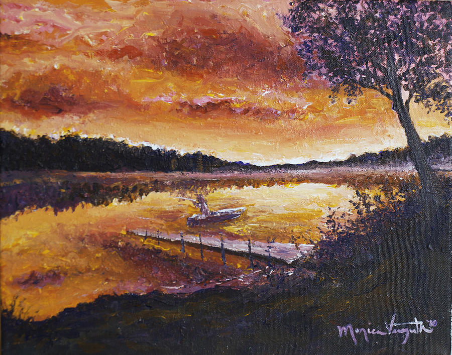 Nature Painting - Dusky Shores by Monica Veraguth