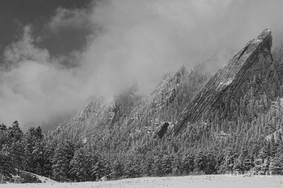 Dusted Flatirons Low Clouds Boulder Colorado Bw Photograph