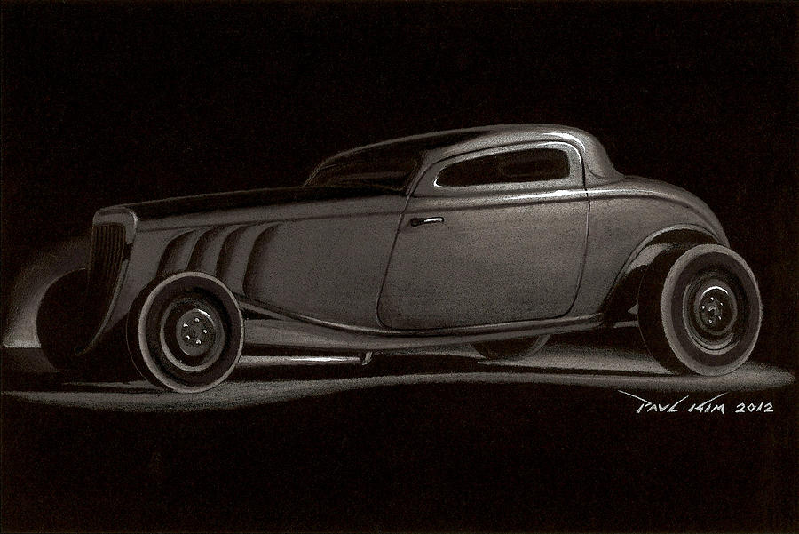 Ford Coupe 1932 32 Hot Rod Zz Top Zztop Ratrod Rat Rod Hotrod Hot Rod Classic Car Automobile Open-wheeled Roadster Chopped Roof Desert Dusty Dust Rust V8 Motor Company Drawing - Dusty Ford Coupe by Paul Kim