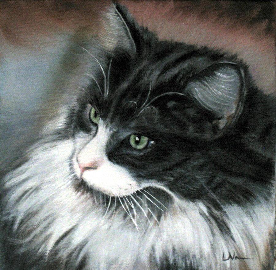 Cat Painting - Dusty  by LaVonne Hand