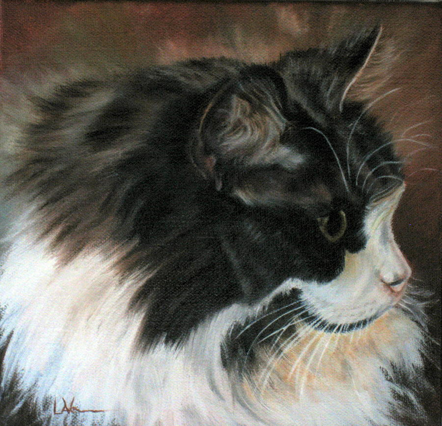 Dusty Our Handsome Norwegian Forest Kitty Painting  - Dusty Our Handsome Norwegian Forest Kitty Fine Art Print
