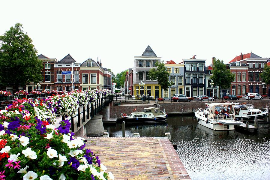 Dutch Cityscape With Boats Photograph