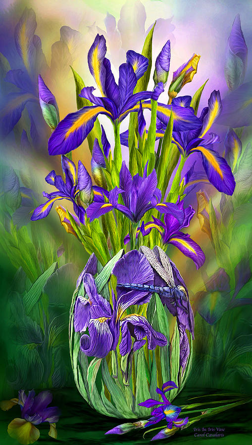 Dutch Iris In Iris Vase Mixed Media