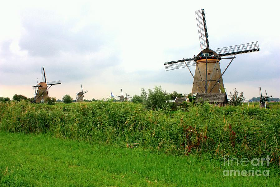 Dutch Landscape With Windmills Photograph  - Dutch Landscape With Windmills Fine Art Print