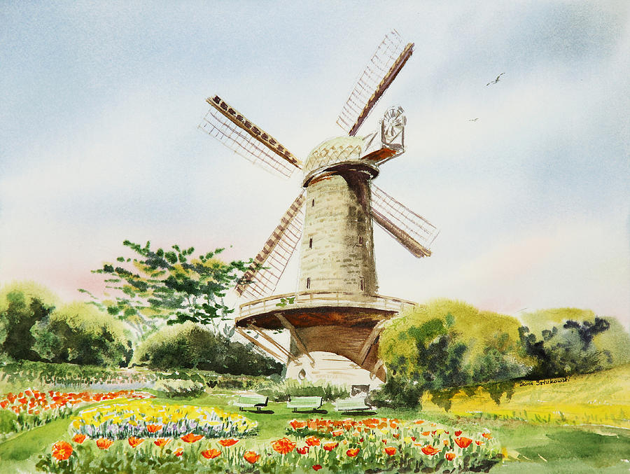 Dutch Windmill In San Francisco Painting by Irina Sztukowski Dutch Windmill Painting